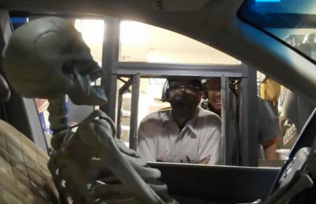 1 skeleton + 1 drive thru window= wicked funny!